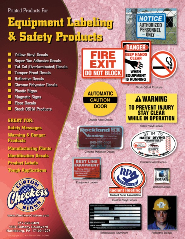 Equipment Safety Labels - OSHA and ANSI Compliant from